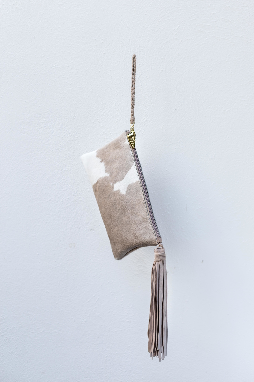 Areias Leather Nude Hair Clutch - Front Full Image