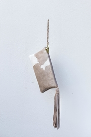 Areias Leather Nude Hair Clutch - Front full body
