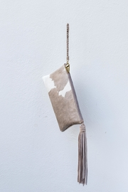 Areias Leather Nude Hair Clutch - Front cropped