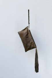 Areias Leather Olive Leather Clutch - Product Mini Image