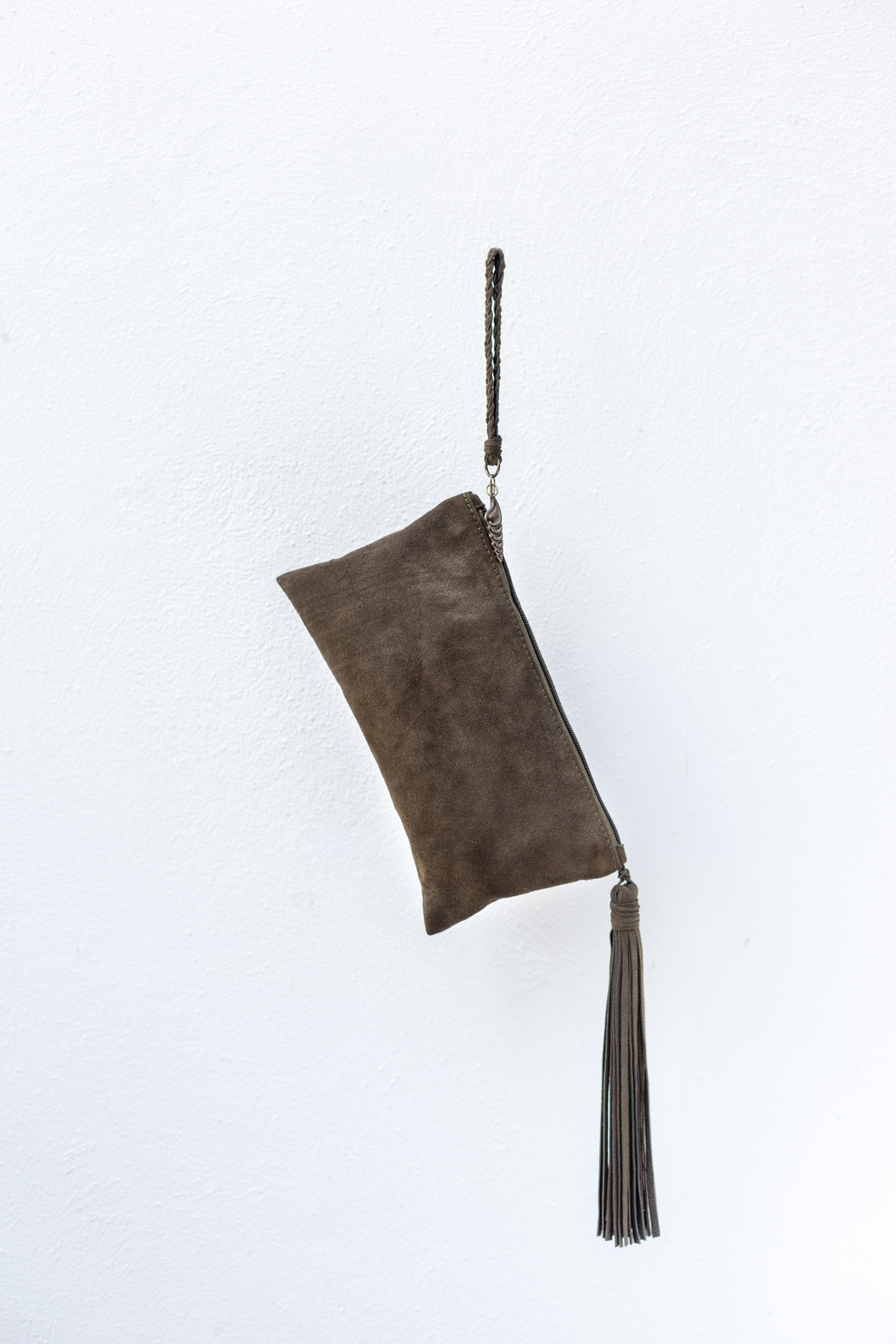 Areias Leather Olive Suede Clutch - Side Cropped Image