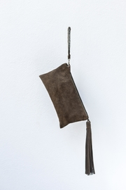 Areias Leather Olive Suede Clutch - Front full body