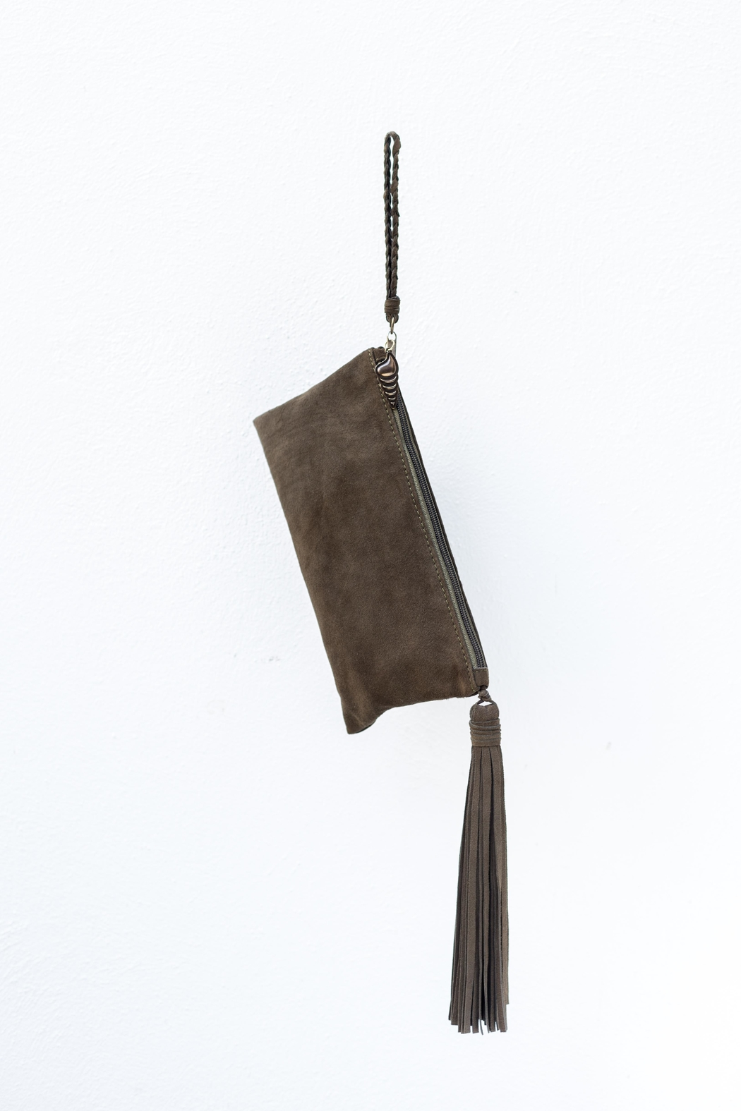 Areias Leather Olive Suede Clutch - Back Cropped Image