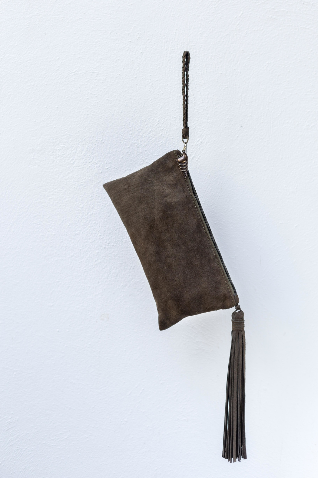 Areias Leather Olive Suede Clutch - Main Image