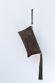 Areias Leather Olive Suede Clutch - Product Mini Image