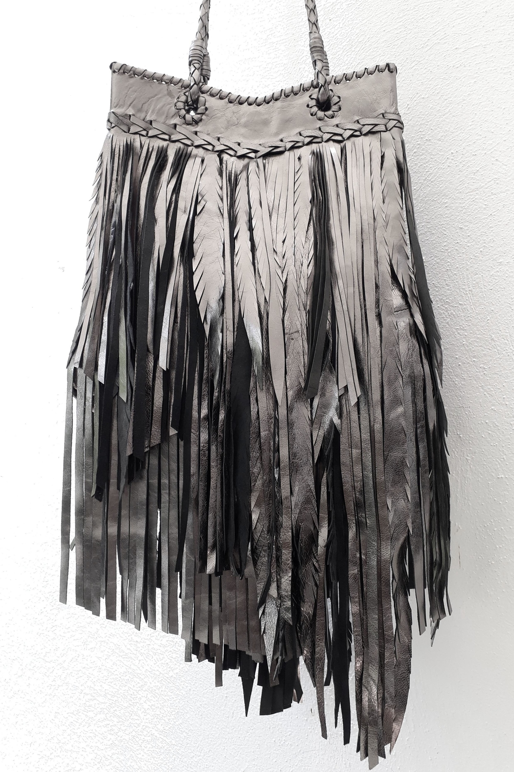 Areias Leather Pewter Fringes Bag - Side Cropped Image