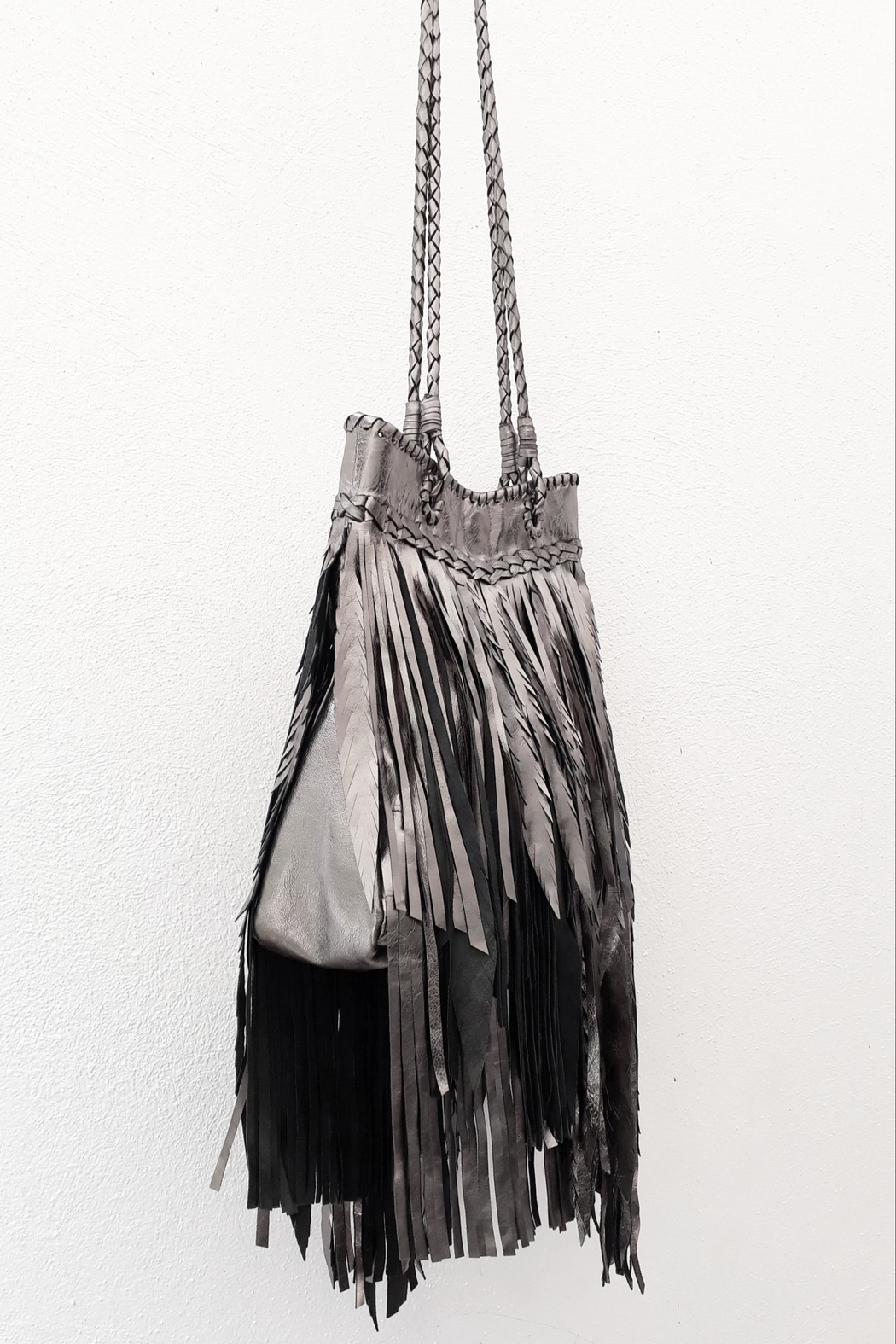 Areias Leather Pewter Fringes Bag - Front Full Image