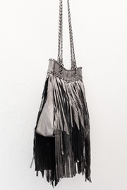 Areias Leather Pewter Fringes Bag - Front full body