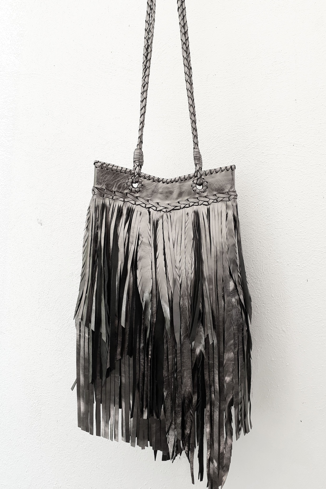Areias Leather Pewter Fringes Bag - Front Cropped Image