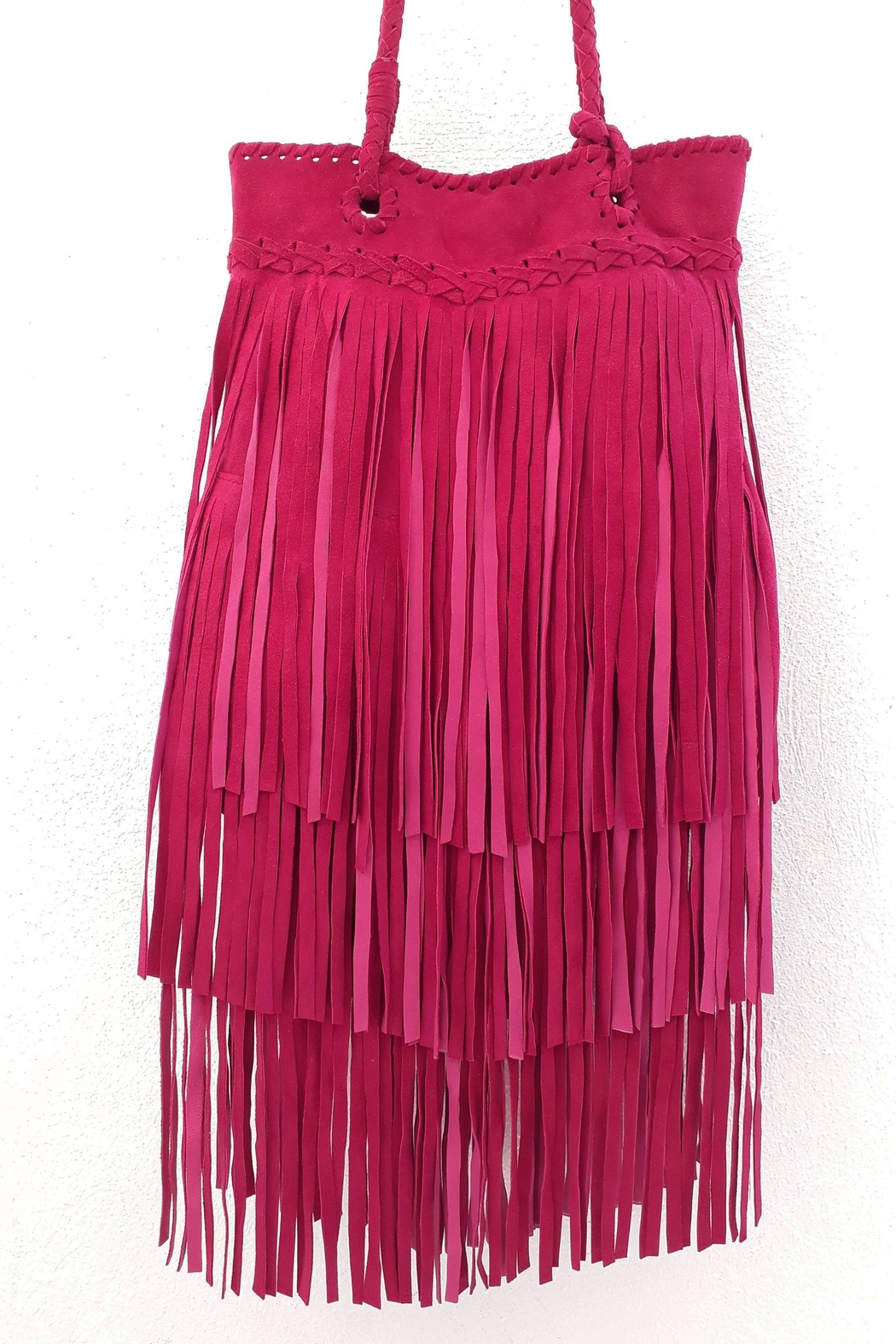 Areias Leather Pink Fringes Bag - Front Full Image