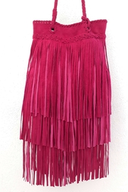 Areias Leather Pink Fringes Bag - Front full body