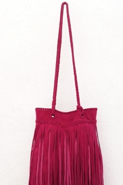 Areias Leather Pink Fringes Bag - Side cropped