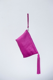 Areias Leather Pink Tassel Clutch - Front full body