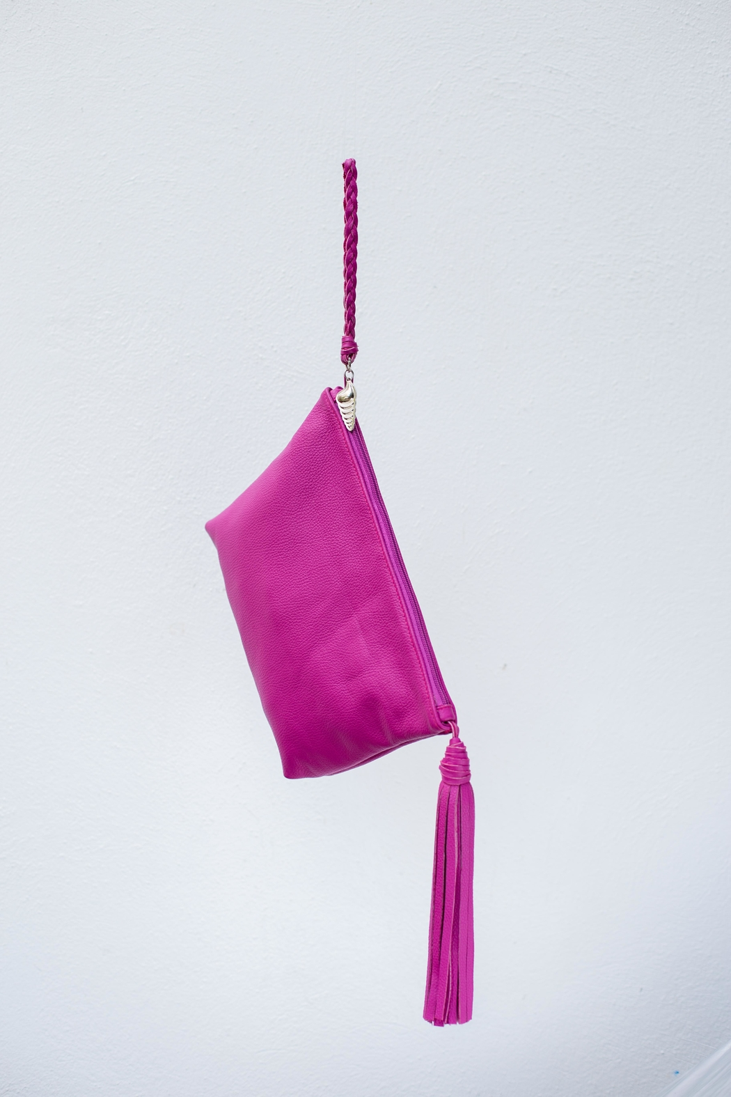 Areias Leather Pink Tassel Clutch - Front Cropped Image