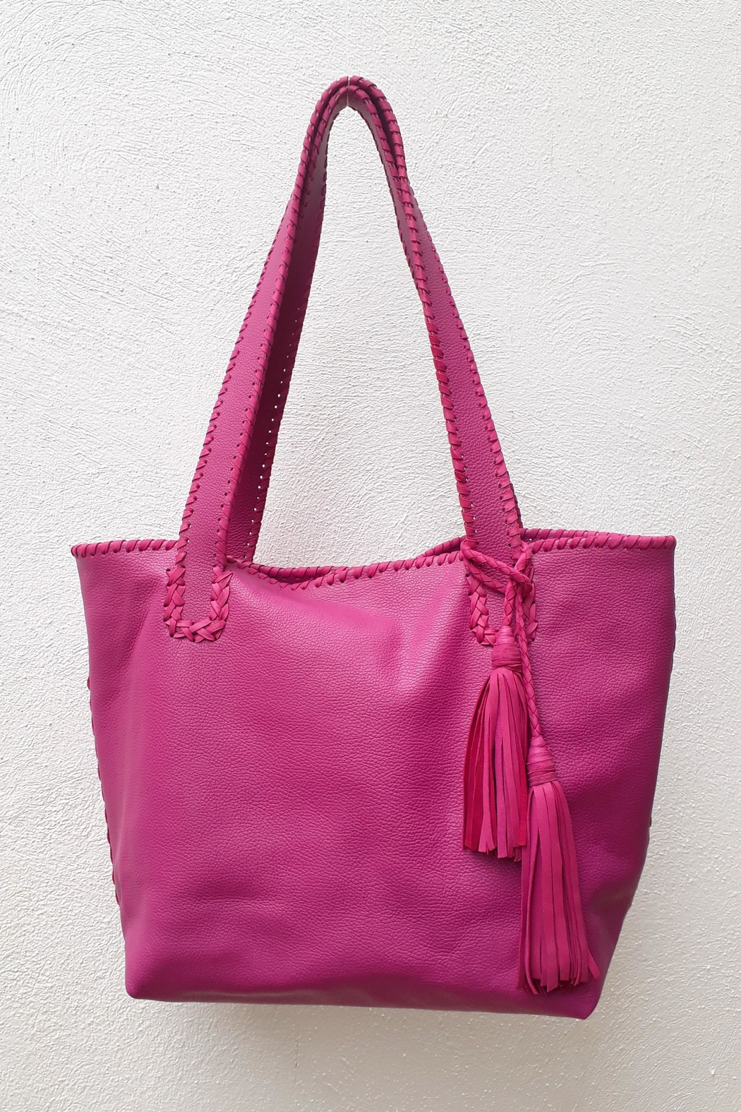 Areias Leather Pink Tote Bag - Main Image