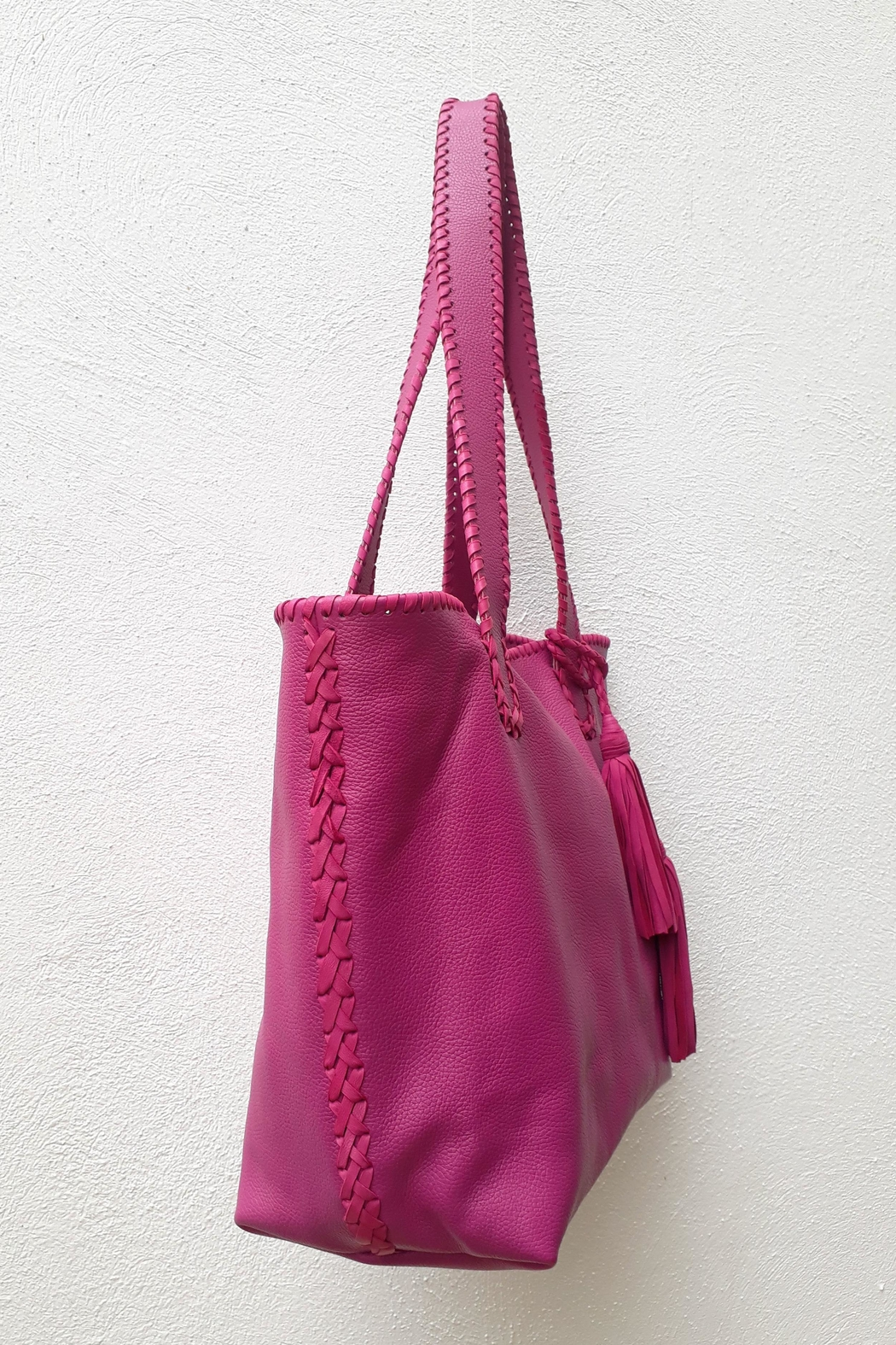 Areias Leather Pink Tote Bag - Front Full Image