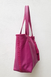 Areias Leather Pink Tote Bag - Front full body