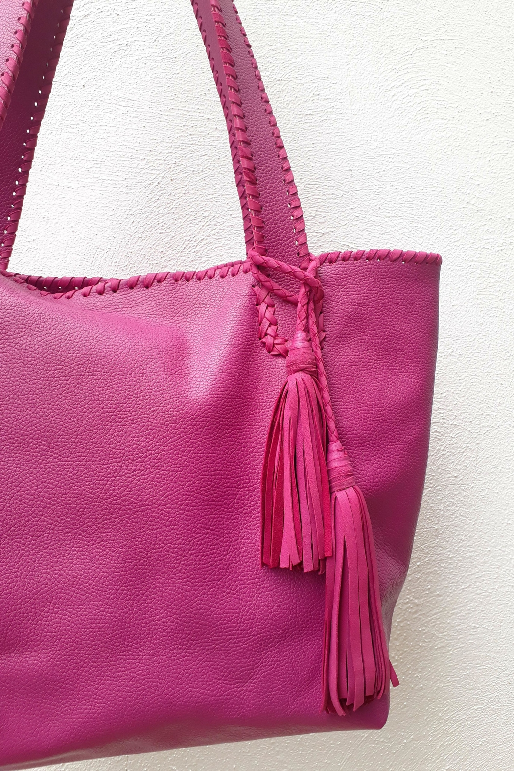 Areias Leather Pink Tote Bag - Back Cropped Image