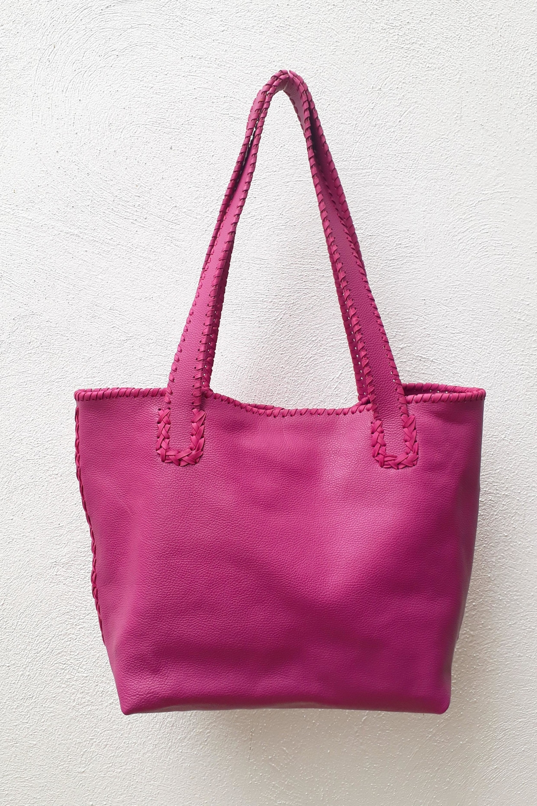 Areias Leather Pink Tote Bag - Side Cropped Image
