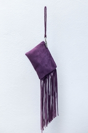 Areias Leather Purple Suede Mini-Clutch - Front cropped