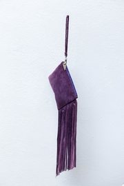 Areias Leather Purple Suede Mini-Clutch - Front full body