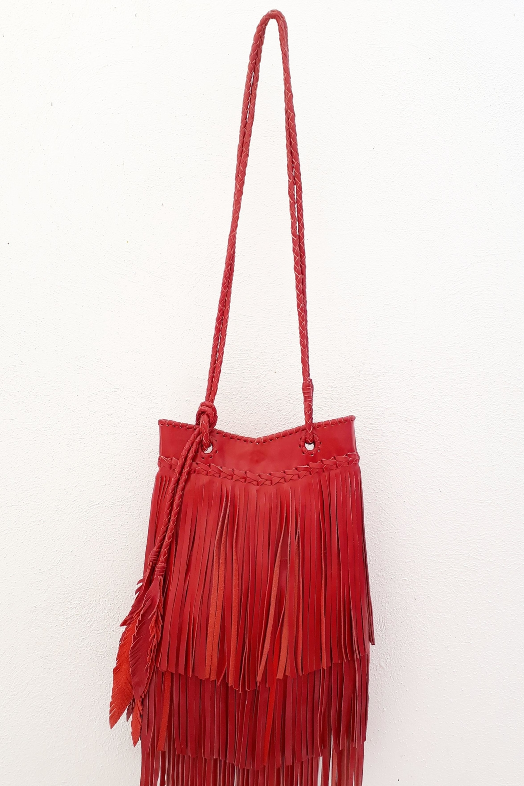 Areias Leather Red Leather Bag - Side Cropped Image