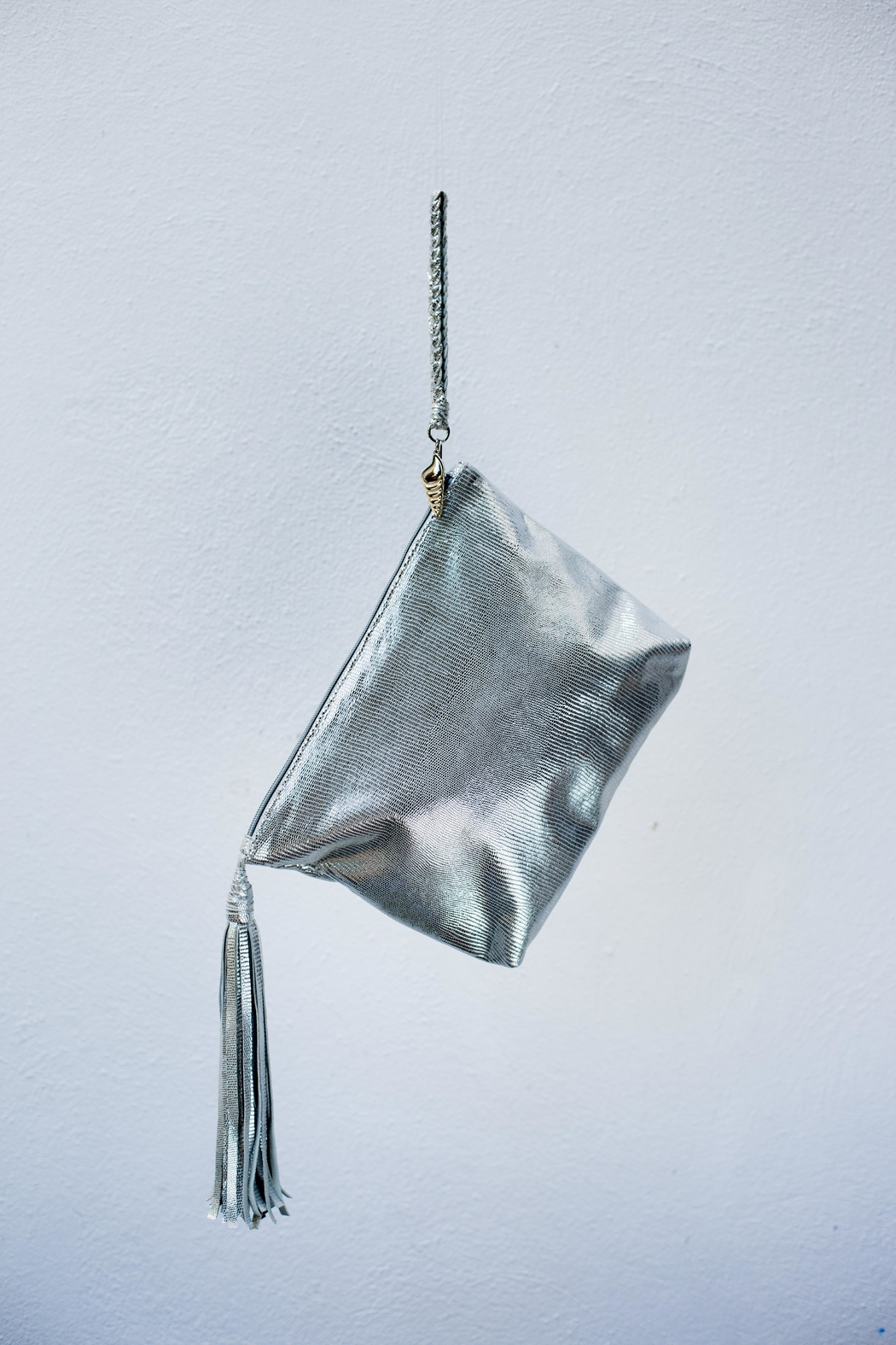 Areias Leather Silver Tassel Clutch - Front Full Image