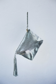 Areias Leather Silver Tassel Clutch - Front full body