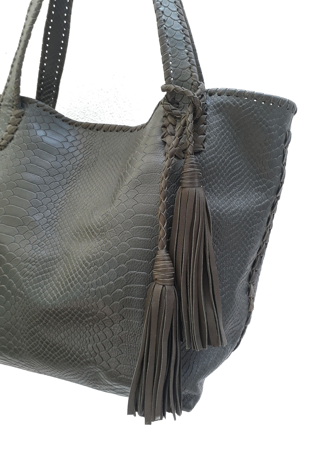 Areias Leather Snake-Print Tote Bag - Side Cropped Image