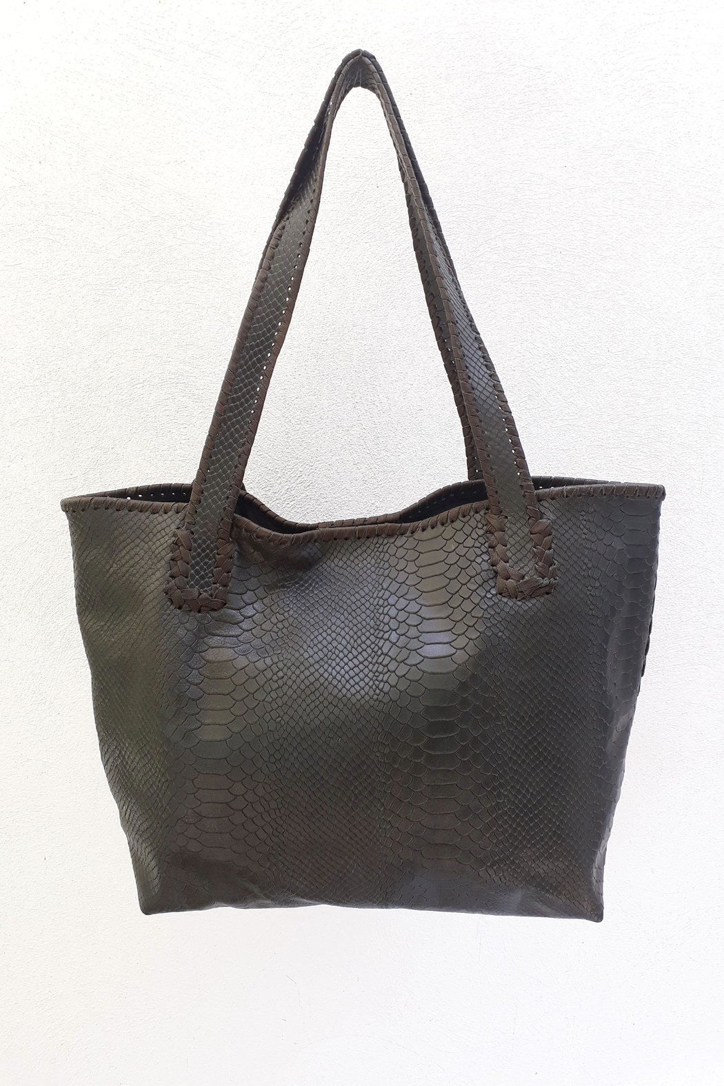 Areias Leather Snake-Print Tote Bag - Front Full Image