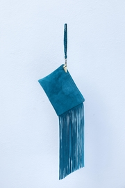 Areias Leather Turquoise Suede Mini-Clutch - Front cropped