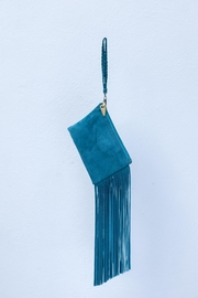 Areias Leather Turquoise Suede Mini-Clutch - Front full body