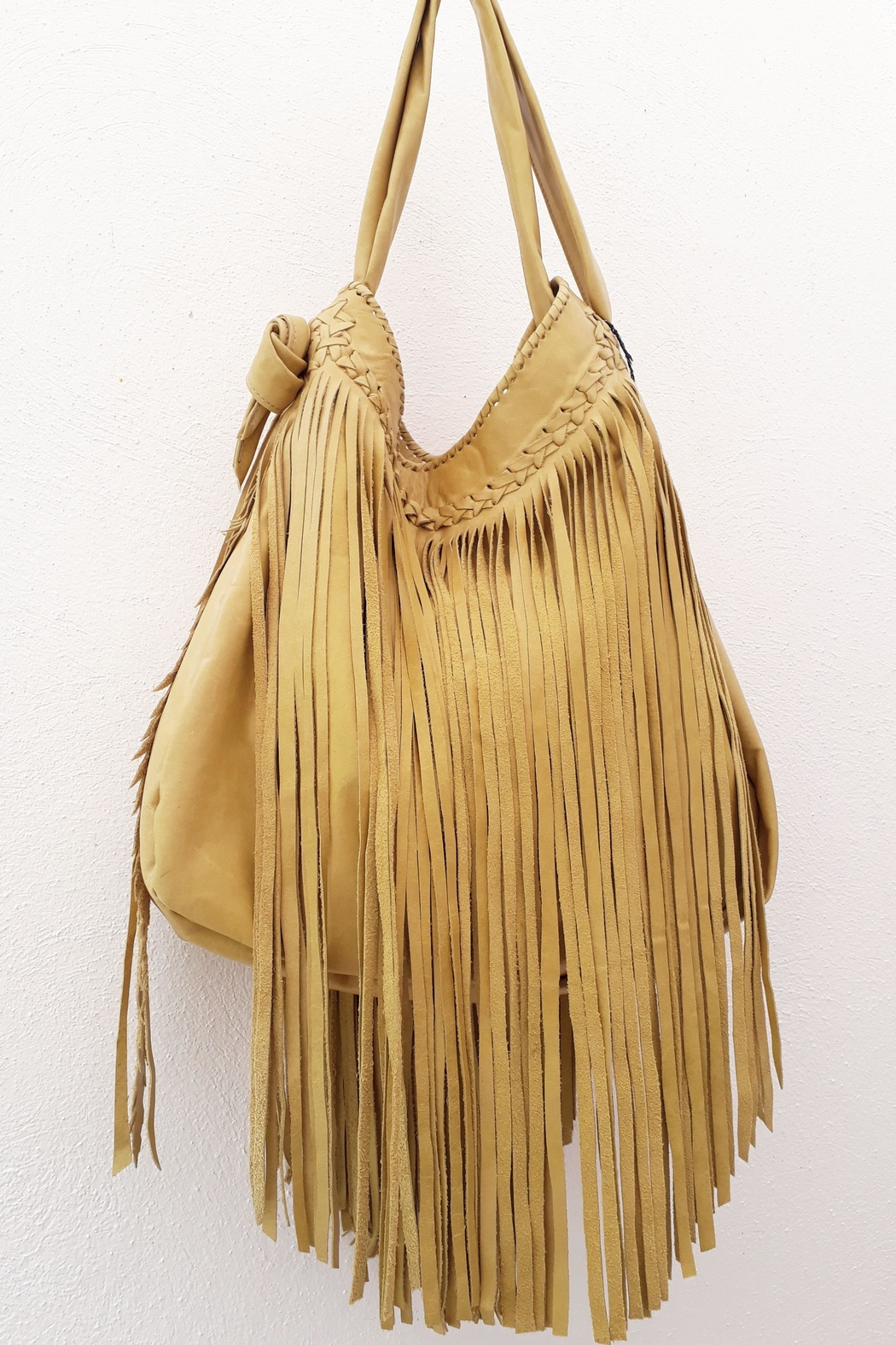 Areias Leather Yellow Fringes Bag - Side Cropped Image