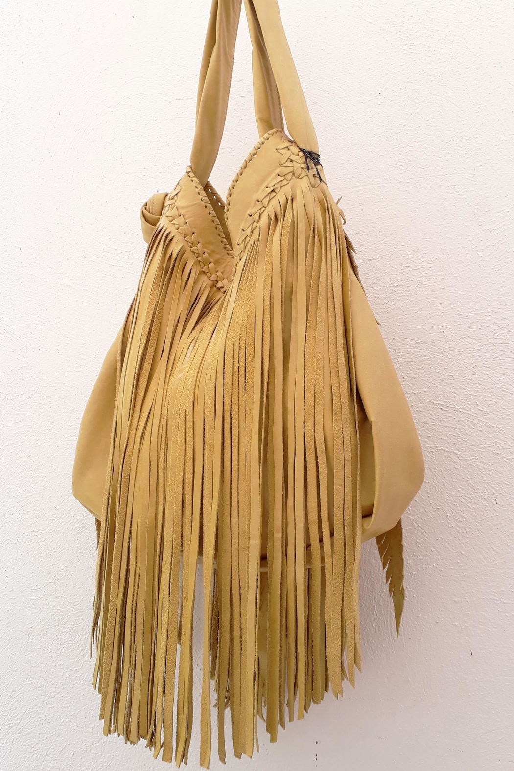 Areias Leather Yellow Fringes Bag - Front Full Image