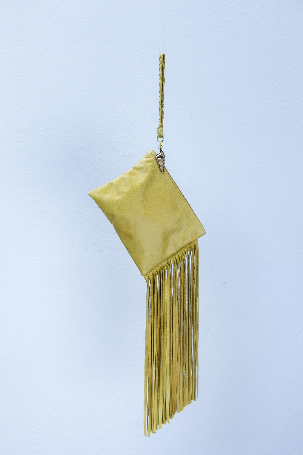 Areias Leather Yellow Fringes Mini-Clutch - Front Full Image