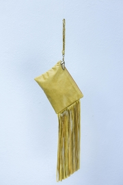 Areias Leather Yellow Fringes Mini-Clutch - Front cropped