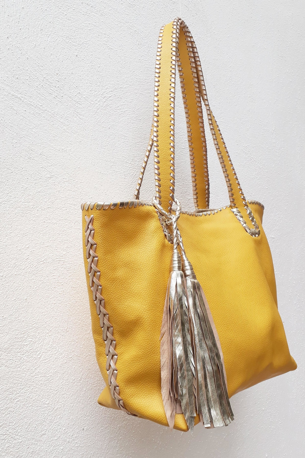 Areias Leather Yellow Tote Bag - Back Cropped Image