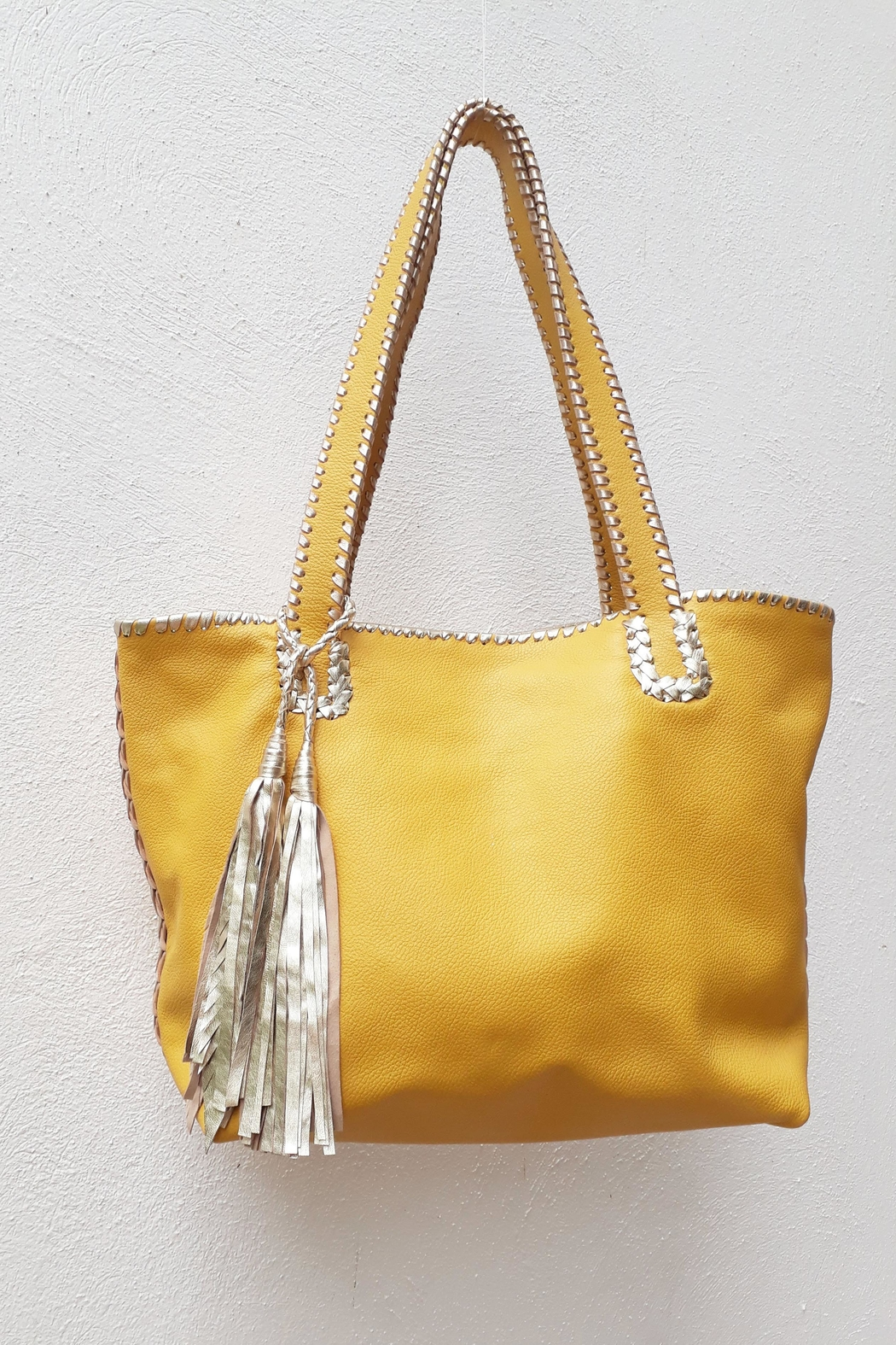 Areias Leather Yellow Tote Bag - Front Cropped Image