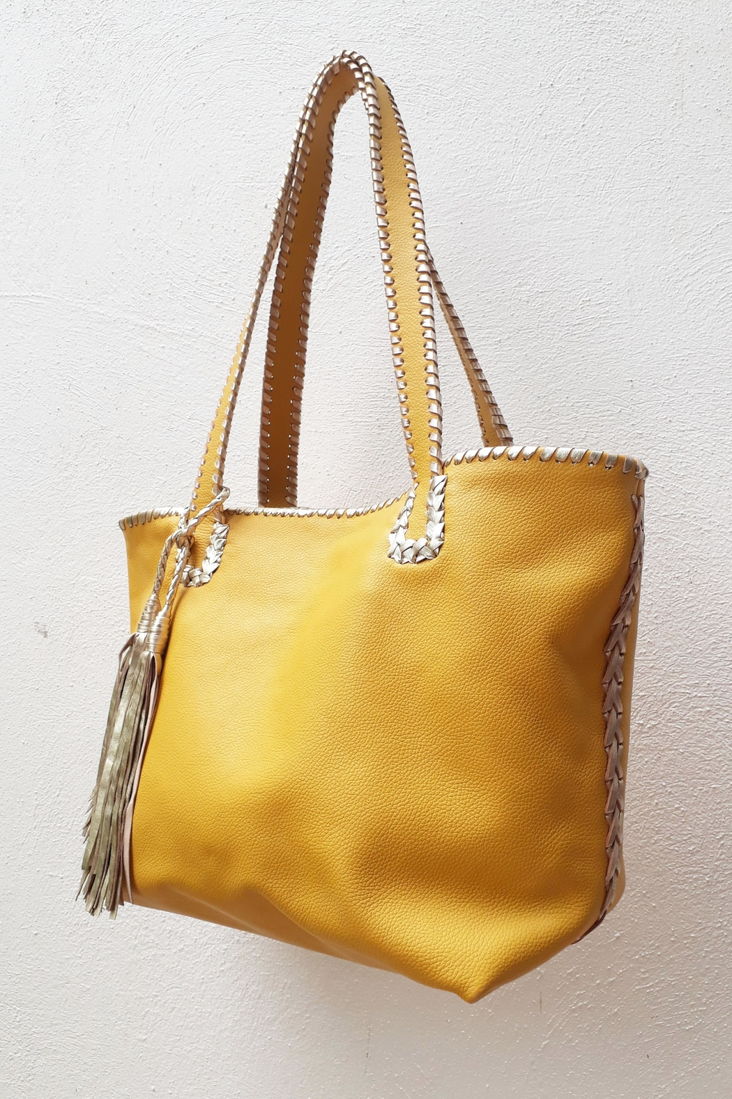 Areias Leather Yellow Tote Bag - Front Full Image