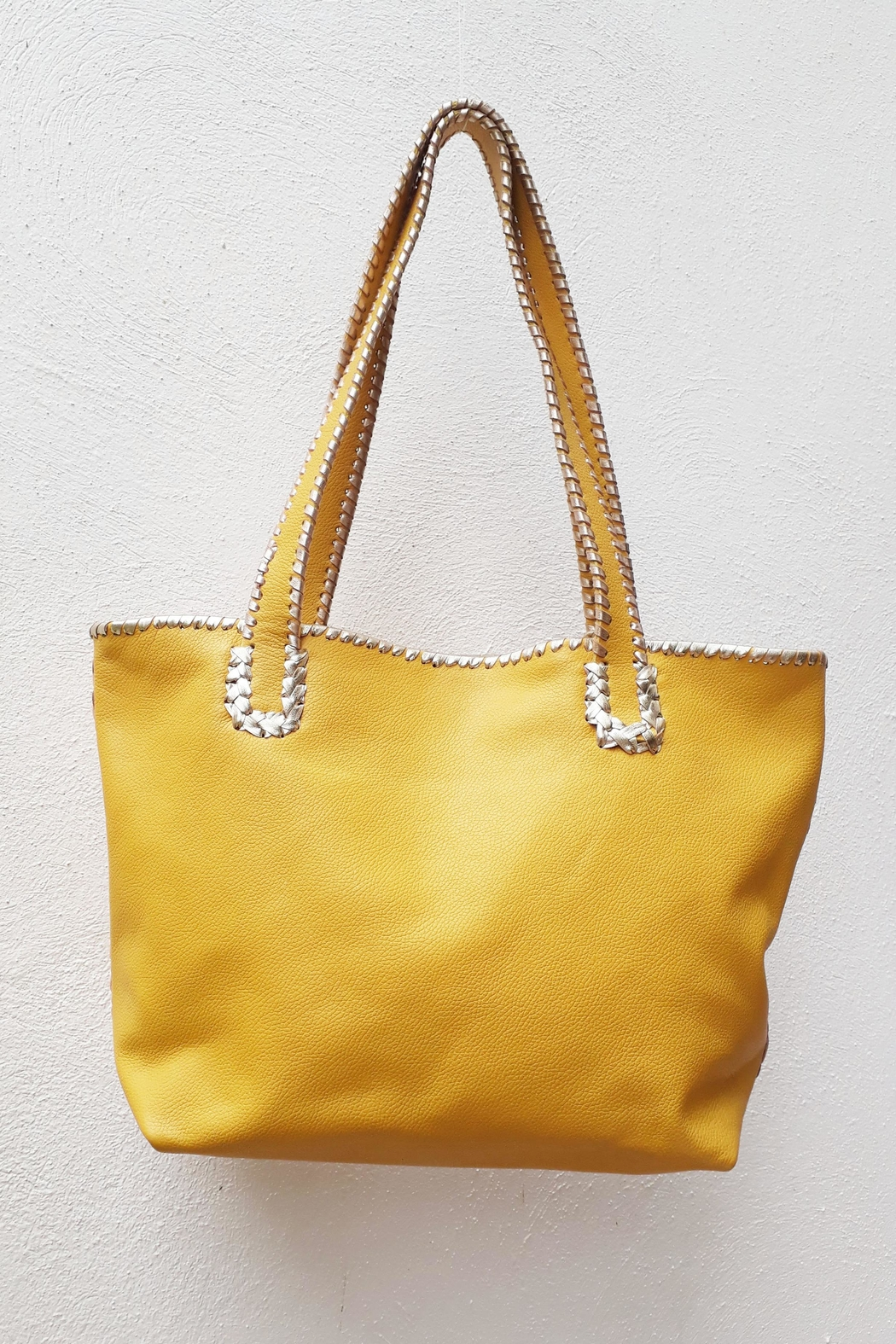 Areias Leather Yellow Tote Bag - Side Cropped Image