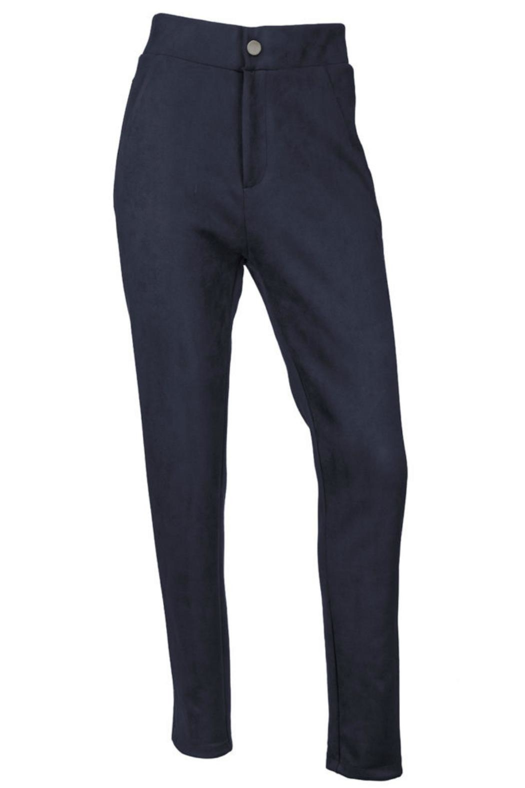 Arianna Navy Microsuede Pants - Main Image