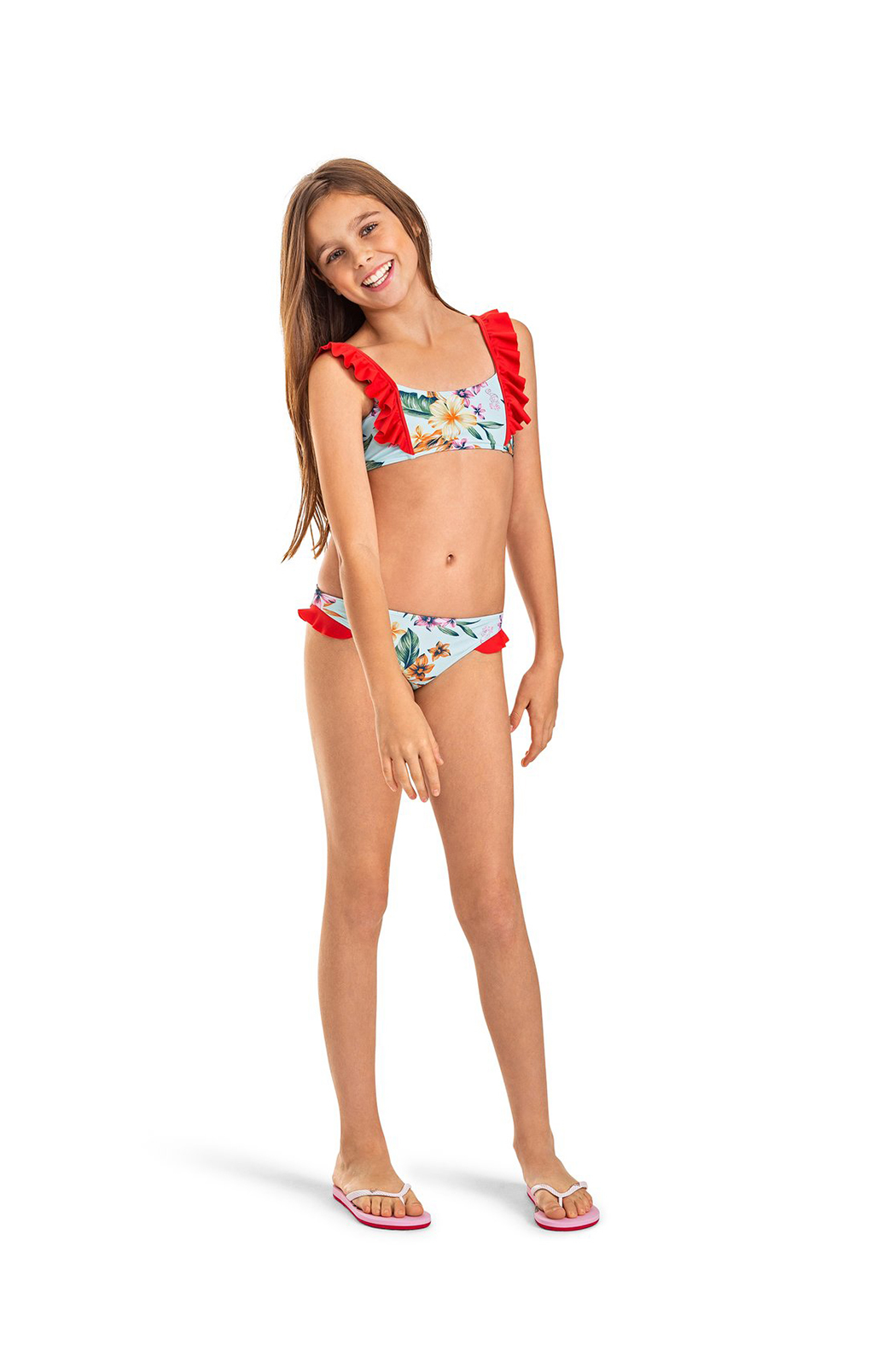 Roxy Ariel Heritage Floral Athletic Bikini Set - Front Full Image
