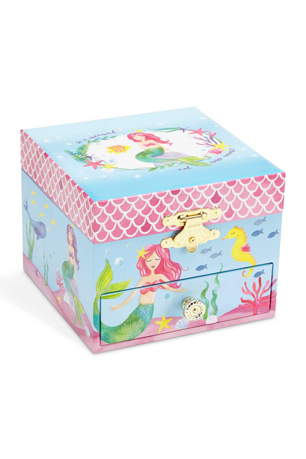 Jewelkeeper Ariel Mermaid Jewelry Box With Drawer - Front Full Image