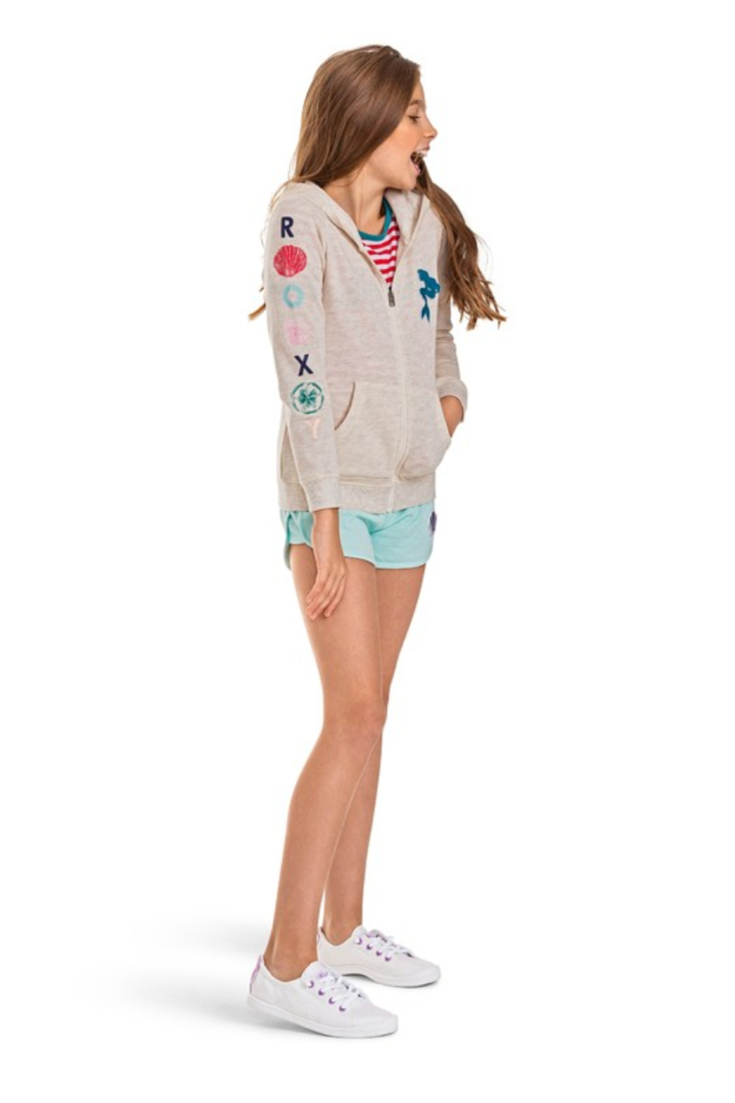 Roxy Ariel My Fins Zip-Up Hoodie - Front Full Image