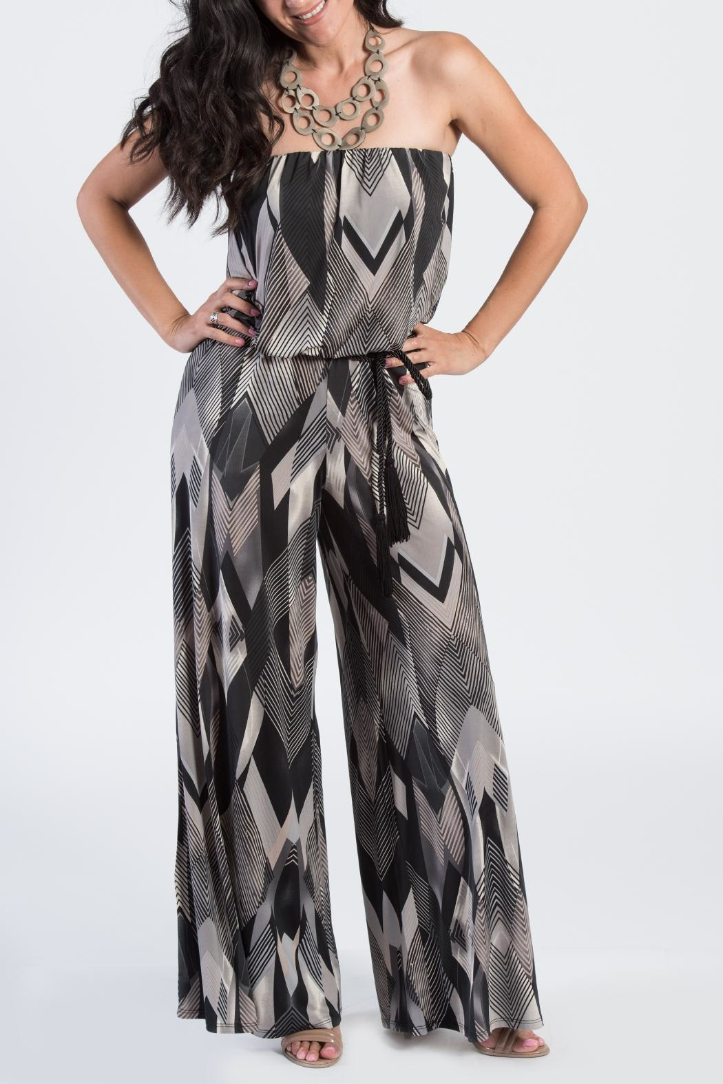 Ariella Geometric Strapless Jumpsuit - Front Cropped Image