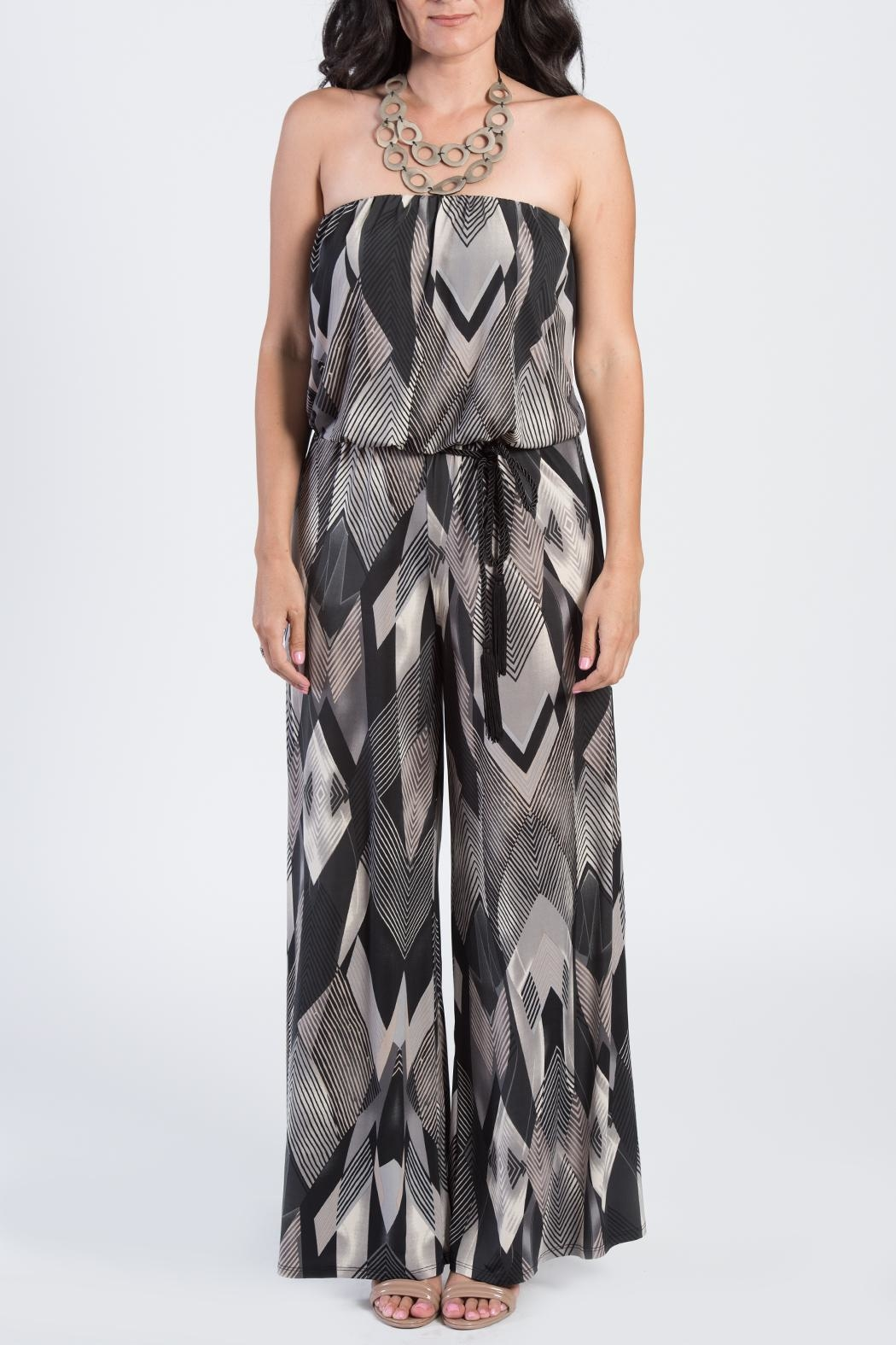 Ariella Geometric Strapless Jumpsuit - Side Cropped Image