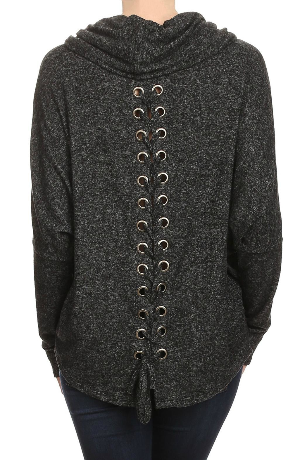 Ariella Lace-Up Back Sweater - Front Full Image