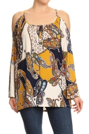 Ariella Printed Cold Shoulder Blouse - Product Mini Image