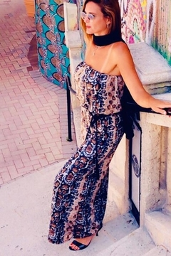 Ariella Snake Print Strapless Sequin Jumpsuit - Product List Image