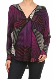 Ariella Zippered Print Top - Front cropped